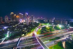 Road intersection of Semanggi at night time. Aerial view of new Semanggi road intersection in the central business. shot at beautiful night Stock Photo