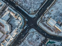 Road intersection, top view, winter day, Voronezh, Russia. Road intersection, top view from drone point of view, winter day, Voronezh, Russia royalty free stock images