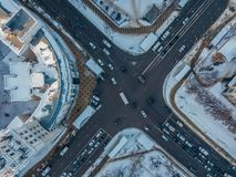 Road intersection, top view, winter day, Voronezh, Russia. Road intersection, top view from drone point of view, winter day, Voronezh, Russia stock photography