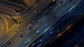 Road intersections on a night highway. View from above. Drone footage of Moscow city roads and highways at night. View from above stock video