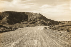 Road in Iraqi Desert Royalty Free Stock Images