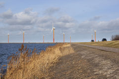 Road on the island of flevoland with wind turbines and blue sky Royalty Free Stock Photo