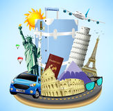 Road Island with Travel Objects and World's Well Known Landmarks Royalty Free Stock Photos