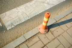 Road isolation piles. In the roadn Royalty Free Stock Photo