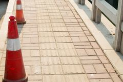 Road isolation piles. Two road isolation piles in the roadn royalty free stock photography