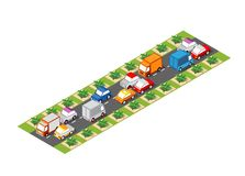 Road isometric 3D city. Street with cars, trees, urban infrastructure stock illustration