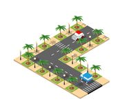 Road isometric 3D city. Street with cars, trees, urban infrastructure vector illustration