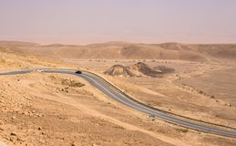 Road in Istael desert. Beautiful Israel nature and road with low traffic Royalty Free Stock Photo