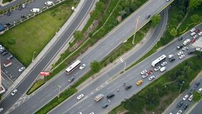 Road in Istanbul. With traffic at rush hour, Turkey. View from above stock video