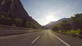 Road through the Italian Alps stock video footage