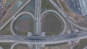 The road junction from above stock footage