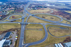 The road junction from above. The road junction near Elblag town in Poland, view from above Stock Photo