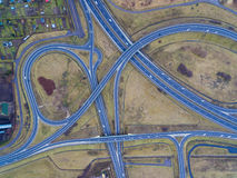 The road junction from above. The road junction near Elblag town in Poland, view from above Stock Images