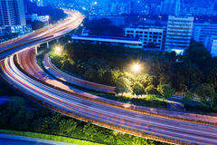 Road junction with blurred colorful lines Stock Photo