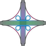 Road Junction Cloverleaf Interchange Colors Stock Image