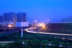Road junction at dawn. The traffics on the road junction at dawn Stock Photos