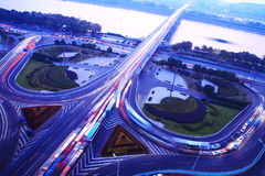 A road junction  at evening Stock Photography