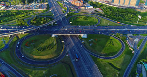 Road junction of the highway Enthusiasts and the Moscow Ring Roa. D. View from above Stock Image