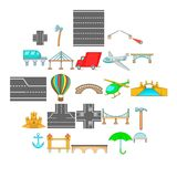 Road junction icons set, cartoon style. Road junction icons set. Cartoon set of 25 road junction vector icons for web isolated on white background Royalty Free Stock Image