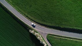 Road junction, intersection - agricultural area, aerial view stock video footage
