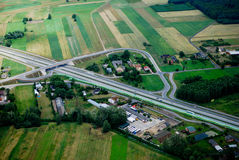 Road junction. Located in village area, central Poland Stock Images