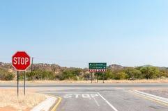 Road junction outside of the Galton Gate, Etosha National Park Royalty Free Stock Image