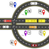 Road junction resembling a euro sign. The path for the navigator. Humorous image. illustration Stock Photography