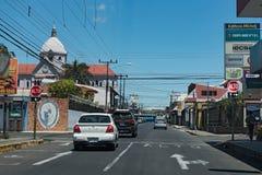 Road junction in San Ramon de los Palmares, Costa Rica.  royalty free stock photos