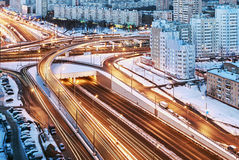 Road junction in the streets of Moscow in winter Royalty Free Stock Photo