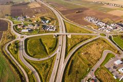 The road junction, top view Stock Photos
