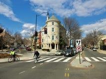 Road junction at Washington DC. Old corner building has unique architectural detail Stock Images