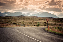Road Junction at North Iceland Mountain Landscape Royalty Free Stock Photos