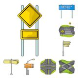 Road junctions and signs and other web icon in cartoon style.Pedestrian crossings and signs icons in set collection. Road junctions and signs and other  icon in Royalty Free Stock Photo