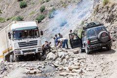 The road from Khorog to Dushanbe along the Panj River. KHOROG, TAJIKISTAN - CIRCA JUNE 2017: The road from Khorog to Dushanbe along the Panj River circa June Royalty Free Stock Photo
