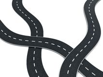 Road knot. 3d illustration of road knot over white background Royalty Free Stock Images
