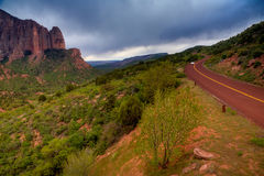 Road through Kolob Canyons. Kolob Canyons - northwestern part of Zion National Park Royalty Free Stock Image
