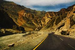 The road in Ladakh. Beautiful highway up to 3000 meters high stock image
