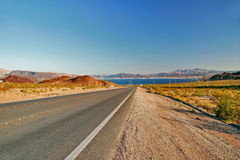 Road from Lake Mead near Hoover Dam Royalty Free Stock Image