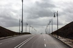 Road with lamps stock photos