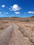 Road and pasture. Road in a landscape and sky with clouds royalty free stock images