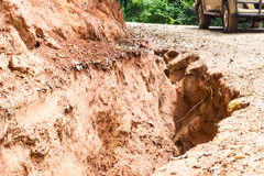 Road landslide damage. In rural north Thailand Stock Image