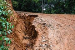 Road landslide damage. In rural north Thailand Stock Photo