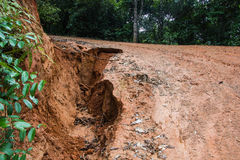 Road landslide damage Royalty Free Stock Photography