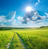 Road lane and blue sky. Royalty Free Stock Image