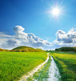 Road lane and deep blue sky Stock Images