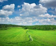 Road lane and deep blue sky. Royalty Free Stock Photography