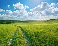 Road lane and deep blue sky. Royalty Free Stock Images