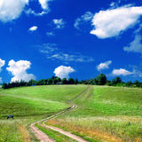 Road lane and green fields Royalty Free Stock Images