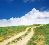 Road lane to sky. Royalty Free Stock Image