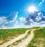 Road lane to sun Stock Image